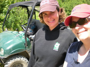 Sarah Katz and Katie Kassof ATVing near First Roach Pond, Maine