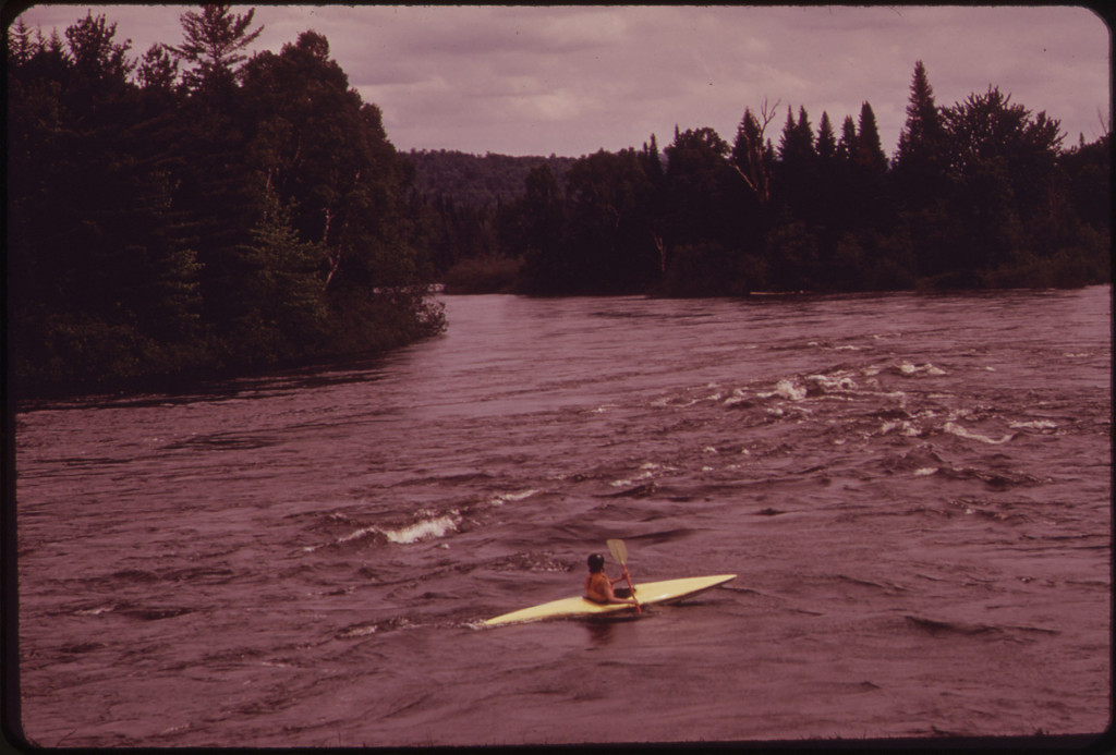 Kayak near Headwaters of the Androscoggin River, Looking Upstream from the Errol Bridge 06/1973