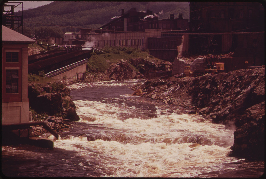 View North Along the Androscoggin River from the Brown Paper Company, 06/1973